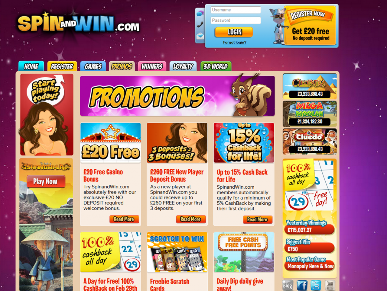 Play Spin And Win Free Online With No Deposit Required At Spinandwin