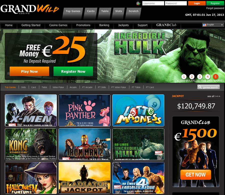GrandWild Casino Review | $/£/€25 free no deposit bonus codes |