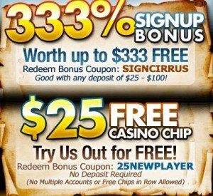 Cirrus Casino  No deposit bonus   No deposit casino bonus codes