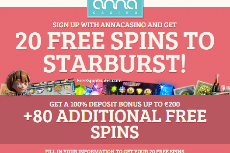 AnnaCasino - 20 free spins on Starburst no deposit