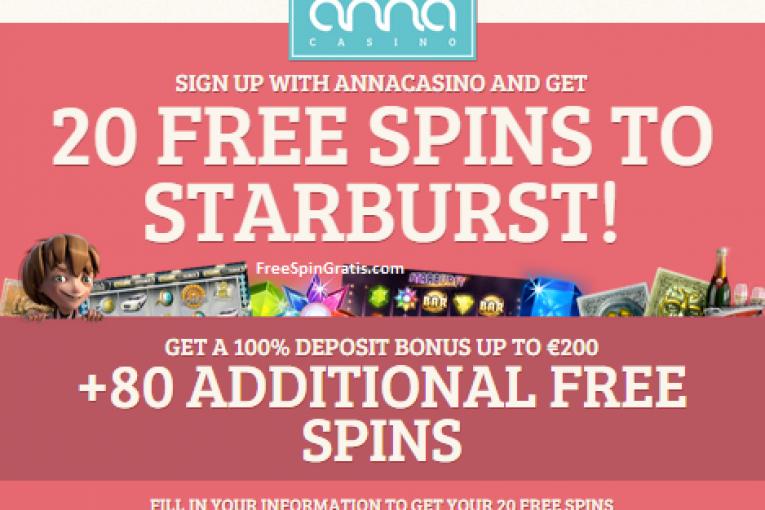 AnnaCasino - 20 free spins on Starburst no deposit