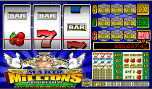 Major Millions is a three reel, three payline, and three coin slot