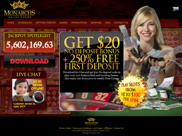 15 no deposit bonus valid for new players at Monarchs Casino