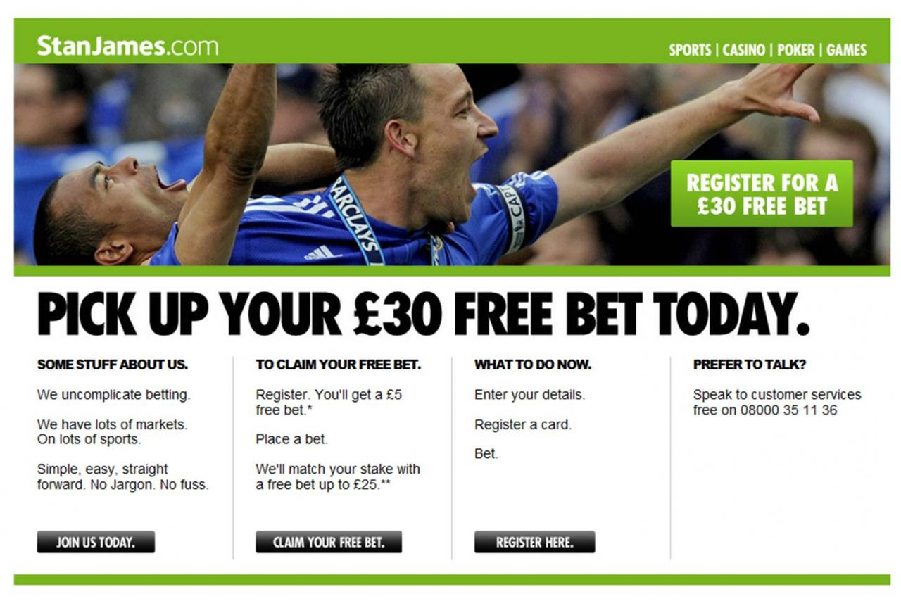 Stan James.com £5 no deposit free bet offer - Bet for free