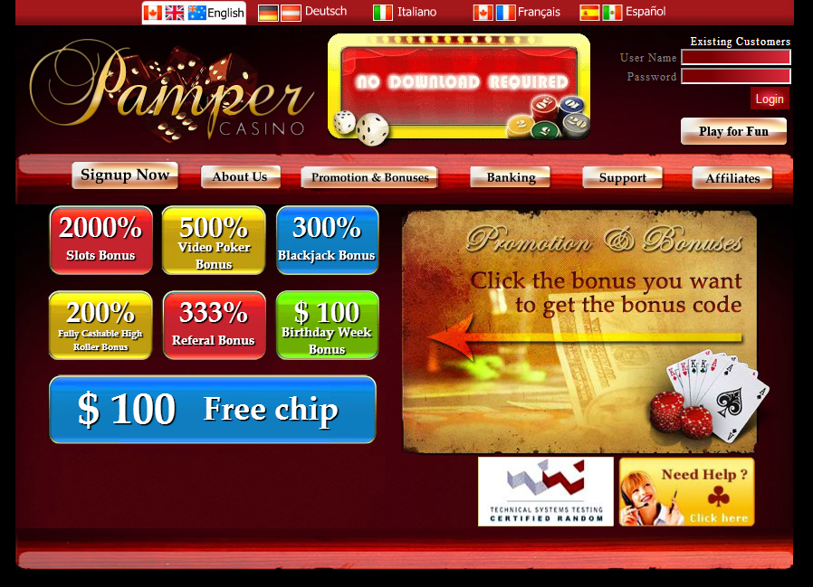 PAMPER CASINO NO DEPOSIT BONUS CODES APRIL 2019